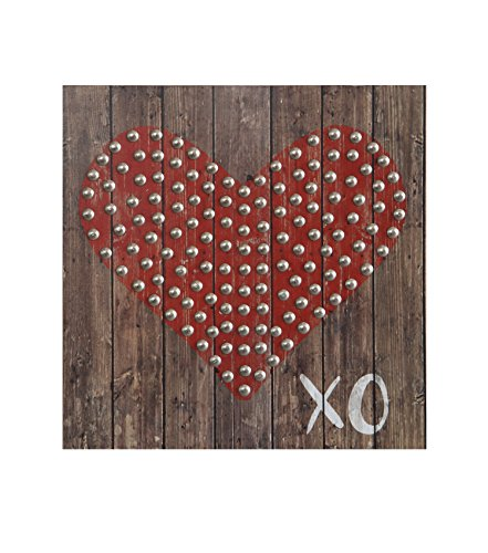 Creative Co-op Square Wood Wall Decor with Red Heart & XO ()