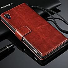 Sony Xperia Z2 Case, Brown Premium Leather Wallet Case with Stand Flip Cover With Card Slot Full Body Case