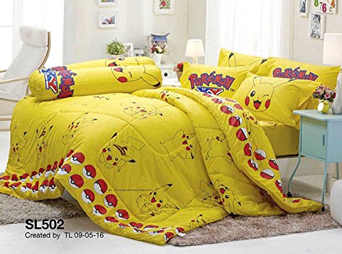 Pokemon Official Licensed Yellow Bedding Set, Bed Sheet, Pillow Case, Bolster Case (Not Included Comforter) SL502 Set A Size 42