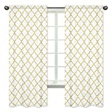 Sweet Jojo Designs 2-Piece White and Gold Trellis Collection Window Treatment Panels For Sale