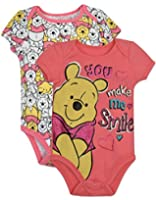 "Baby Girls' Winnie the Pooh Onesies 2-Pack - Pink, ""You Make Me Smile"""
