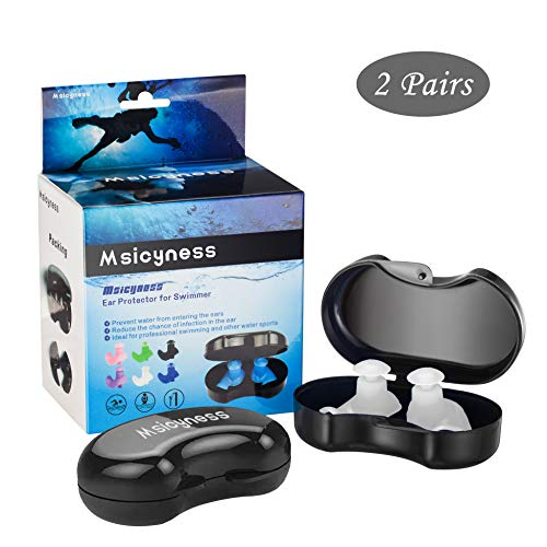 Msicyness Swimming Ear Plugs, 2 Pairs Waterproof Reusable Silicone EarPlugs for Swimmers Showering Bathing Surfing and Other Water Pool Sports Adults Size(White) (Best Ear Plugs For Showering)