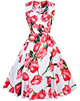 Womens Bird Pattern Vintage Party Swing Dress...