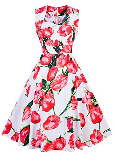 Futurino Women's Vintage Classy Floral 1950s Audrey Hepburn Tea Swing Midi Dress (Floral Dress Tropical)