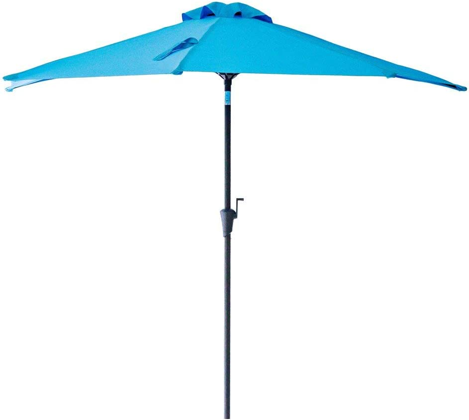 FLAME&SHADE 9 ft Half Outdoor Patio and Table Umbrella with Tilt - Aqua Blue