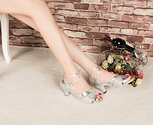 Minitoo L190 Women's Buckle Glitter Latin Salsa Ballroom Dance Shoes Silver t9ikqpDB