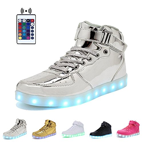 High Top Velcro LED Light Up Shoes 7 Colors USB Flashing Charging Walking Sneakers For Men Women Boots With Remote Control-44(silver)