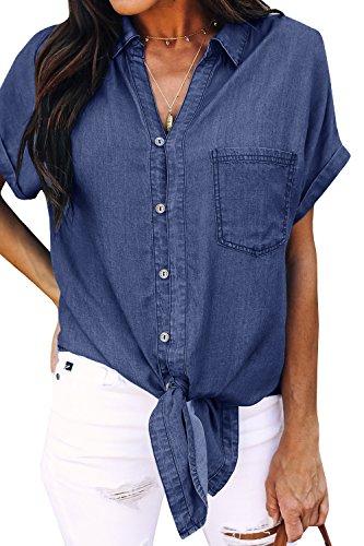 Shirt Denim Top (Meilidress Womens Tie Knot Front Button Down Denim Shirts Vintage Short Sleeve Tunic Lapel Jeans Tops Navy)