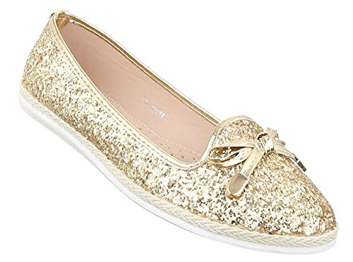 Damen Ballerinas Schuhe Flats Slipper Pumps Slip On Schwarz Gold 36 37 38  39 40 41 0f7614cd1e