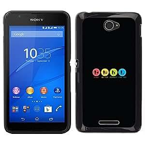 A-type Arte & diseño plástico duro Fundas Cover Cubre Hard Case Cover para Sony Xperia E4 (Signos coloridos divertidos)