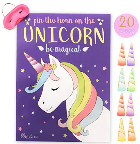 Pin the Horn on the Unicorn Party Game | Kids, Games, Supplies, Decor, Decorations, Gifts, and Favors for Little Girls Birthday | Large 21
