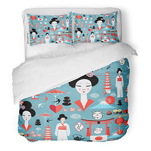 Semtomn Decor Duvet Cover Set King Size Geisha Bright Pattern Various of Japanese Asia Cat Character 3 Piece Brushed Microfiber Fabric Print Bedding Set Cover ()