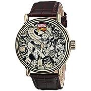 Amazon Lightning Deal 70% claimed: Marvel Men's W001768 Spider-man Iron Man Hulk Captain America Analog-Quartz Brown Watch