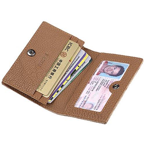 Men's Credit Card Holder Slim Leather RFID Blocking Wallet Case for Men Pabin (Light Brown)