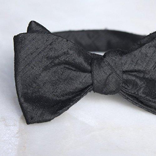Black Dupioni Silk Bow Tie ()