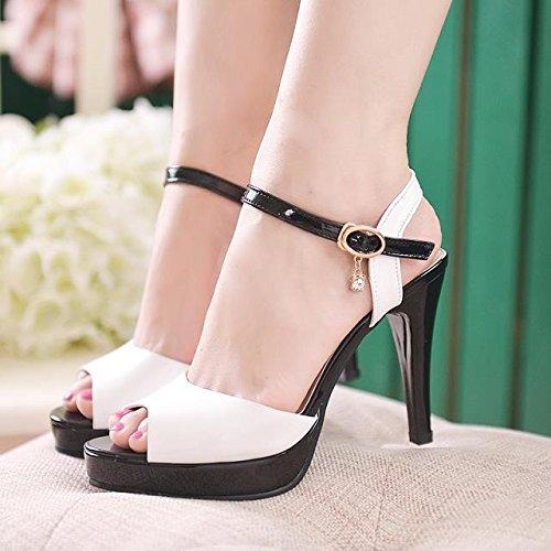 KHSKX-Female High Heel Sandals New Rough Heel Waterproof Platform Shallow Seams Of Car Seams Color Matching Thirty-five YCPVDeg