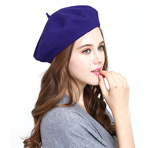 Classic WW004 Winter 100% Wool Warm French Art Basque Beret Tam Beanie Hat Cap (Royal) -