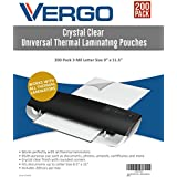"Vergo 200 PACK Universal Thermal Laminating Pouches - 3 Mil Letter Size 9"" x 11.5"" Laminator Sheets Crystal Clear"
