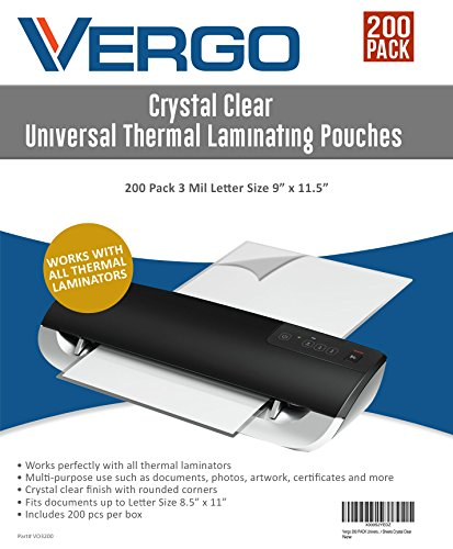 Vergo 200 PACK Universal Thermal Laminating Pouches - 3 Mil Letter Size 9'' x 11.5'' Laminator Sheets Crystal Clear by Vergo