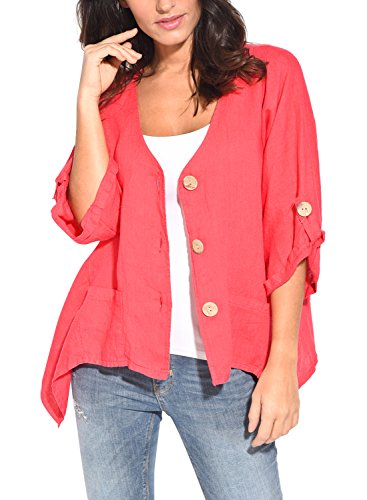 HOTAPEI Women's Roll Tab-Sleeve Button Down Linen Casual Kimono Cardigan T Shirts Loose Blouses Tops Red,XXL by HOTAPEI