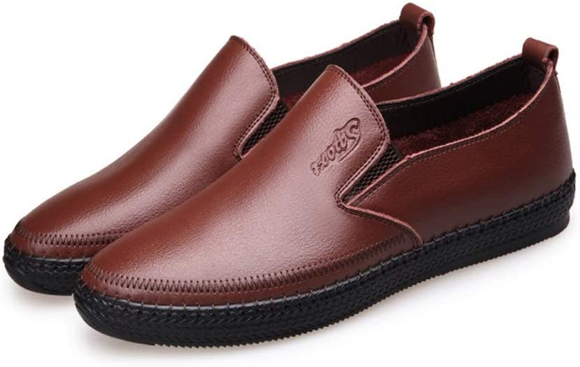 CATEDOT Mens Loafer Genuine Leather Shoes Square Toe Flat Rubble-Sole Comfortable Plain Shoe for Walking US Color : Brown, Size : 7.5 M