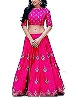 Purva Art Womens Royal Zoya Pink Silk Lehenga Choli WIth Dupatta Set (RZPLC_852_Soft Net_Lace Border)