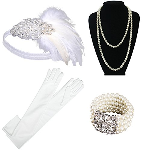 1920s Gatsby Flapper Costume Accessories,Feather Headband,Long Pearl Necklace,Long Black Satin Gloves,Cigarette Holder for (Gatsby Prom Theme)