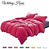 Egyptian Quality Super Soft Stone Washed Microfiber Duvet Cover Set 2 Pieces - Hypoallergenic Quilt Case - Fade Stain Resistant Comforter Cover -Modern Color With Vintage Wrinkle Bedding Rose Twin