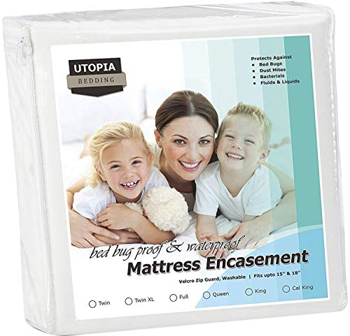 Utopia Bedding Zippered Mattress Encasement - Waterproof Mattress Protecter ()