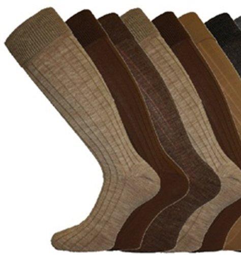MENS LONG Ribbed WOOL Mix SOCKS Comfy Grip 6-11 3 Pack Browns