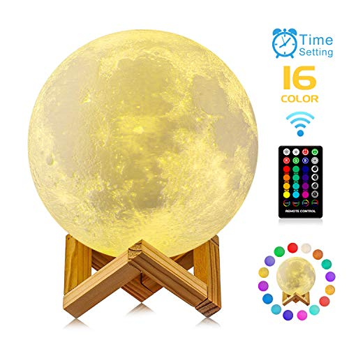 Moon Lamp, GDPETS 3D Printing 9.6 Inches 16 Colors Moon Night Light with Stand & Remote &Touch Control and USB Rechargeable Decorative Luna Lamp