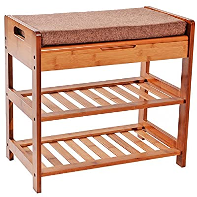 """C&AHOME 3-Tier Shoe Rack Bench, Entryway Storage Shelf Holds up to 240LBS, Bamboo Shoe Organizer, 20.5"""" L x 11.6"""" W x 19.3"""" H, Comfort Style with Cushion for Living Room Corridor Brown - COMFORTABLE LIFE: The shoe rack and shoe bench, two in one is a perfect match. Put in foyer, convenient your daily use also gives your guest a kind of welcoming atmosphere, avoid guests standing unsteadily while changing shoes FRIENDLY TO YOU: This shoe bench is made of 100% bamboo wood, natural and harmless, especially, the shoe rack bench itself surface is smooth, the handles with round corner design, no harm to your belongings or children LARGE STORAGE SPACE: The max load capacity of the shoe bench is 260 lbs, at least 2-4 pairs of shoes can be put in each layer of shoe rack, and the storage drawer with extra storage space to put some small items(insoles, socks, shoes brush, shoe polish, etc.) Perfect for the hall, living room, bed room, balcony, office, bathroom, etc. - entryway-furniture-decor, entryway-laundry-room, benches - 51Lw8BWiZlL. SS400  -"""