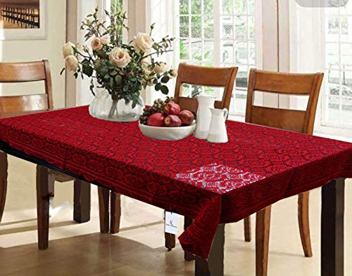 Kuber Industries Dining Table Cover Maroon Cloth Net For 6 Seater 60*90 Inches (Self Design) Price & Reviews