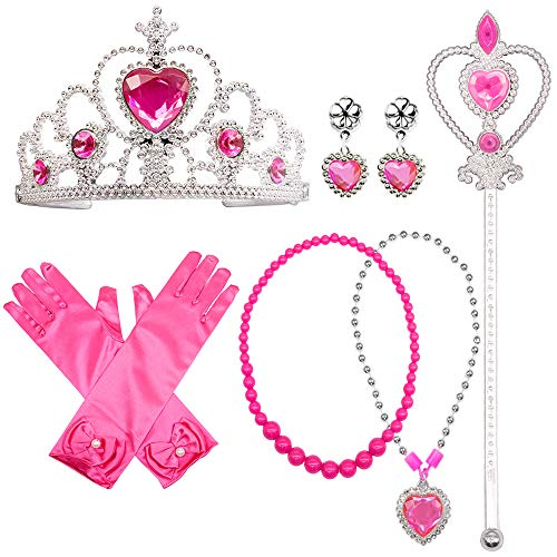 Yansion Princess Dress Up Party Costume Accessories Belle Gift Set for Princess Cosplay Tiara,Wand and Gloves(Pink) -