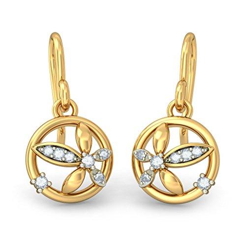 Or jaune 18K 0,08ct tw White-diamond (IJ | SI) Pendants d'oreilles