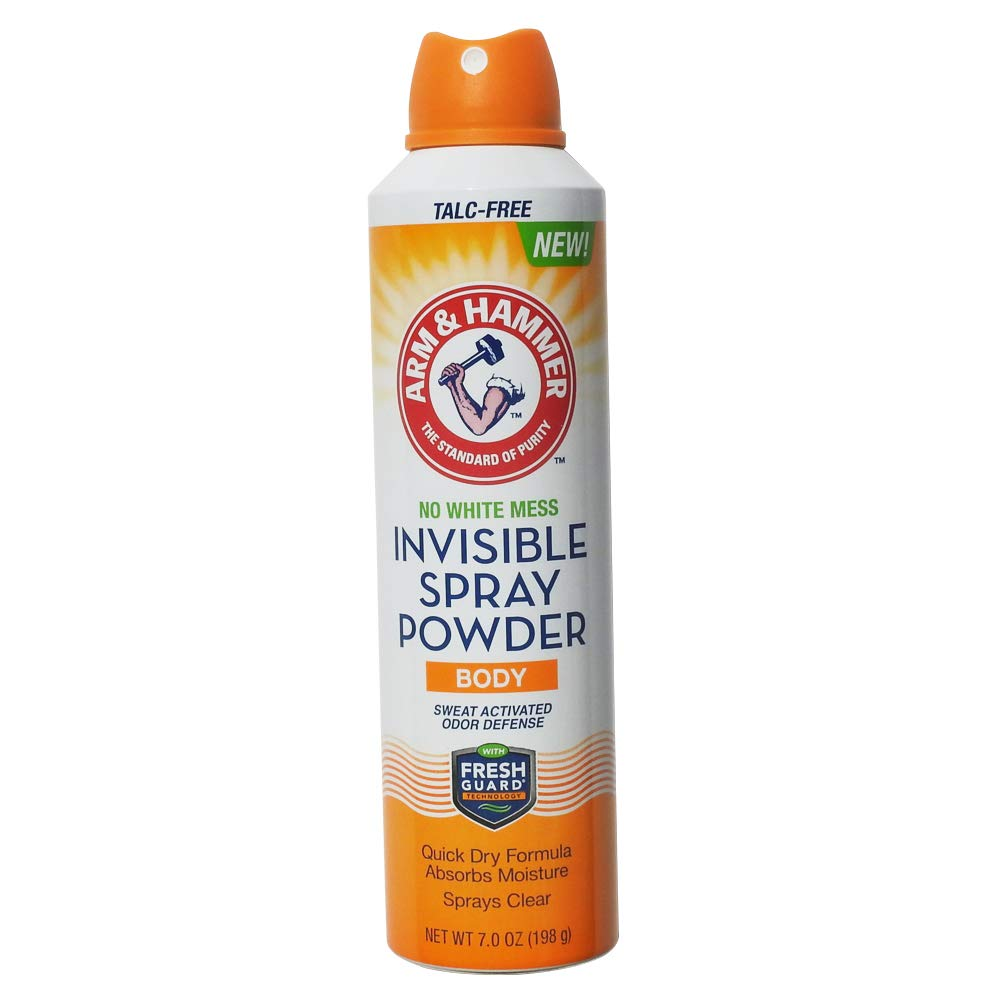 Arm & Hammer Invisible Body Powder Spray Eliminates Body Odor & Absorbs Moisture & Sweat Sprays On Clear - 1 Pack