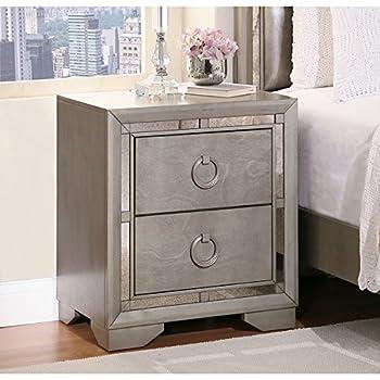 Amazon Abbyson Living Valentino Mirrored 2 drawer Nightstand