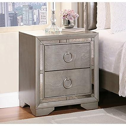 Etonnant Abbyson Living Valentino Mirrored 2 Drawer Nightstand, Silver (28 X 25.5 X  16.5