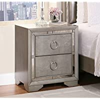 Abbyson Living Valentino Mirrored 2-drawer Nightstand, Silver (28 x 25.5 x 16.5)