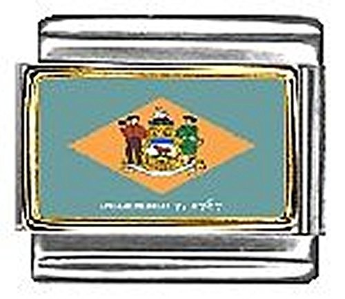 - State of Delaware Photo Flag Italian Charm Bracelet Jewelry Link 9mm