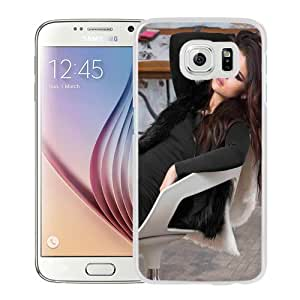 Fashionable Custom Designed Samsung Galaxy S6 Phone Case With Selena Gomez Brown Long Hair_White Phone Case