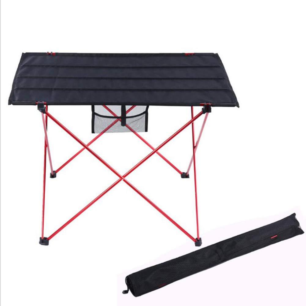 Shengshiyujia Campingtisch Außen Leicht, Tragbar, Faltbar Oxford Tuch, Aluminium für Wandern/Strand / Camping Schwarz/Orange,ROT