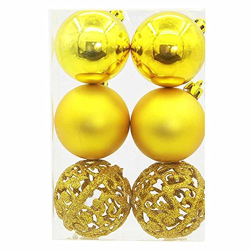 YJYdada 6Pcs Christmas Balls Ornaments Shatterproof Decorations Tree Balls for Door Wall Party Holiday Ornament (Yellow) -