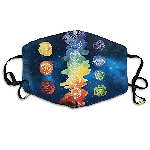 Colored Chakras Burnout Yoga Reusable Anti Dust Face Mouth Cover Mask,Warm Windproof Mask ()