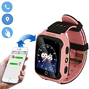 JUNEO GPS Watch Activity Tracker, SOS,Dual Way Call Parents Control Real Time GPS/LBS Watch Locator with Pedometer for Kids/Elderly(without SIM card) (GPS + Flashlight + Camera ( M05 Pink)) from JUNEO