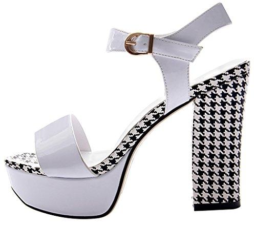 T&Mates Womens Summer Fashion Simple Peep-toe Rough Heels Soft Pumps(7.5 B(W) US, white)