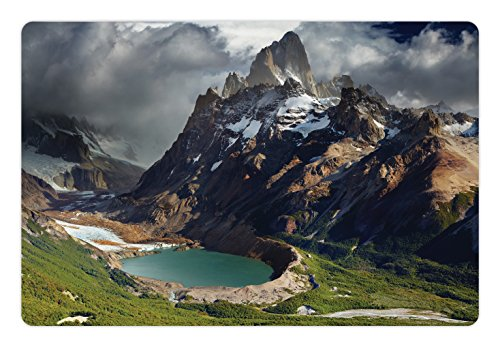 (Ambesonne Landscape Pet Mat for Food and Water, Mount Fitz Roy and Laguna Torre Los Glaciares National Park Patagonia Argentina, Rectangle Non-Slip Rubber Mat for Dogs and Cats, Multicolor )