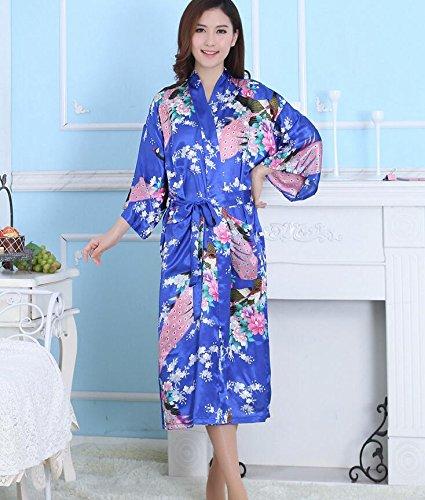 ZC&J Las señoras verano párrafo largo pantalones transpirables sección delgada de simulación de confort de seda trajes de alta calidad de moda pijamas de ropa interior de seda,Light blue,M Light Blue