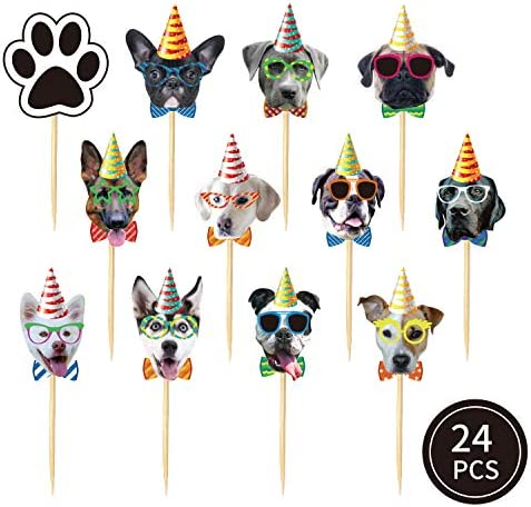24 PCS Dog Face Cupcake Toppers Dog Cake Topper Puppy Birthday Garland Pet Theme Party Cake Decorations Supplies