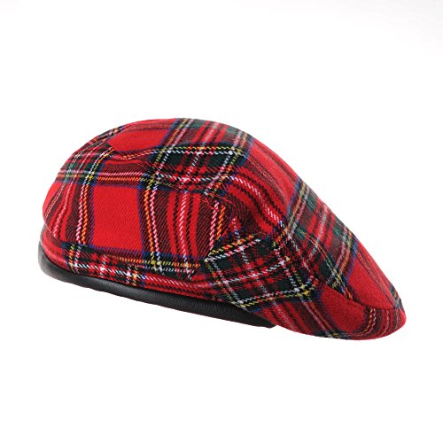 WITHMOONS Wool Beret Hat Tartan Check Leather Sweatband KR9539 (Red) ()